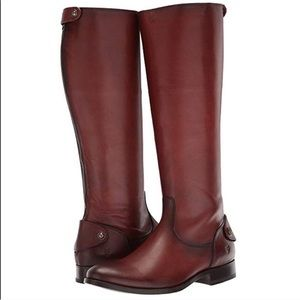 New Frye Melissa Button Back Zip Tall Boots Cognac